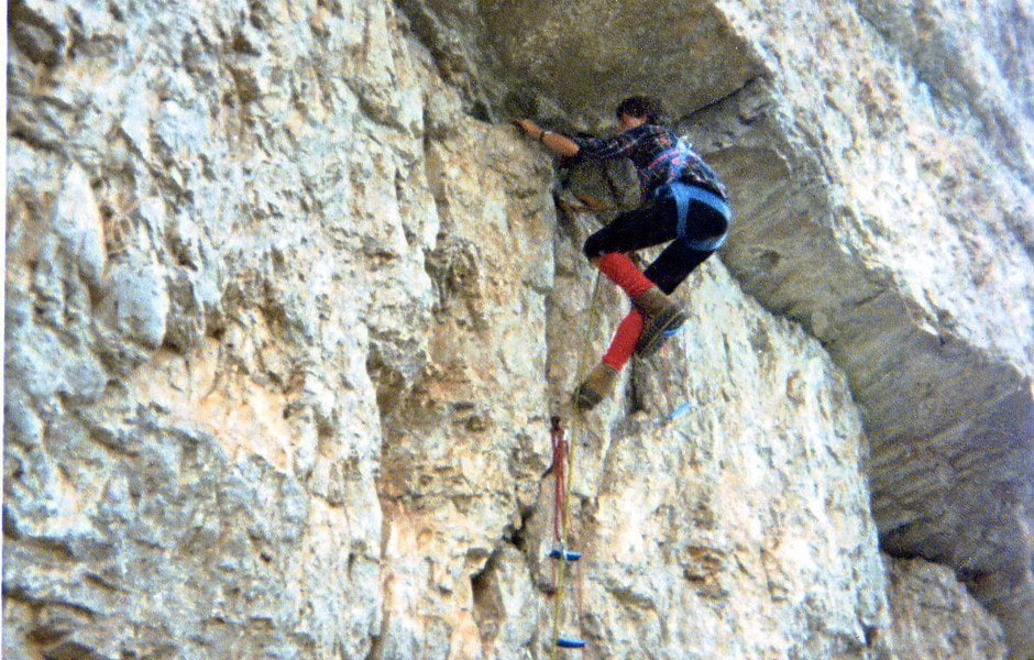 1979 - Enrico climbing via Franceschi - 5 Torri